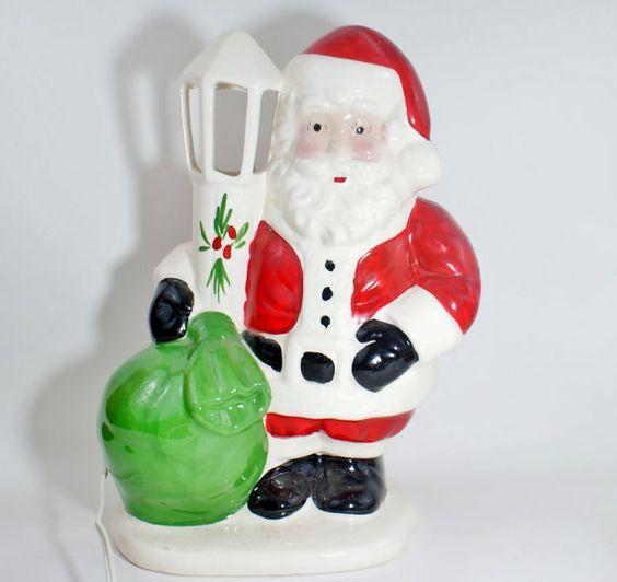 Vintage Ceramic Santa Lamp Christmas Light by DoorCountyVintage