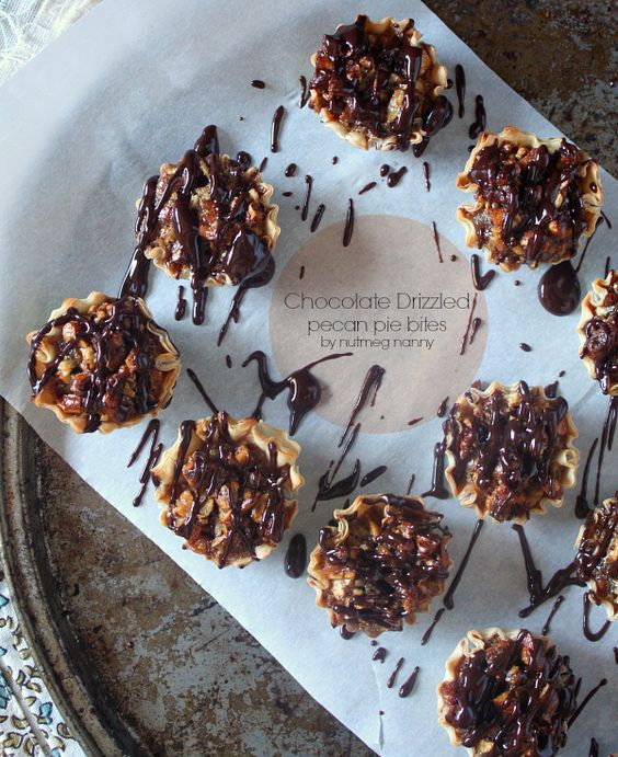 Chocolate Drizzled Pecan Pie Bites by Nutmeg Nanny