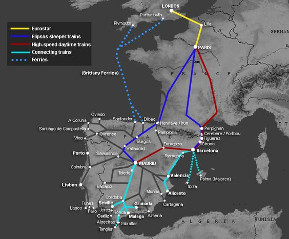 London to Spain:  Madrid, Barcelona, Seville... by train