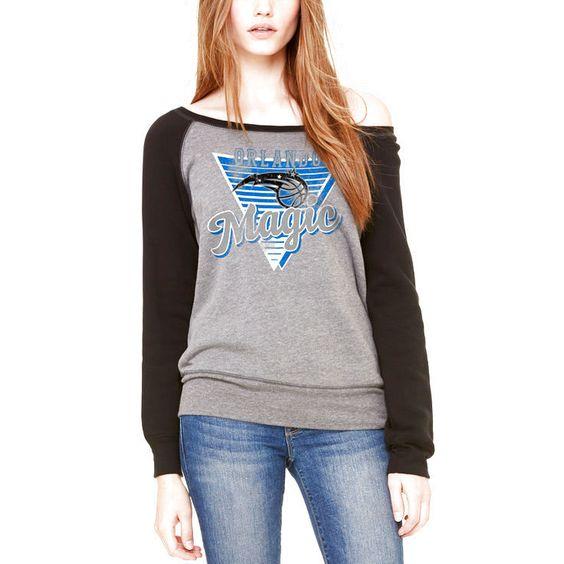 Orlando Magic Let Loose by RNL Women's Eighty Something Wide Neck Sweatshirt - Heathered Gray/Black - $54.99