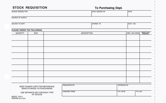 Part Stock Requisition Form Carbonless  Business Forms