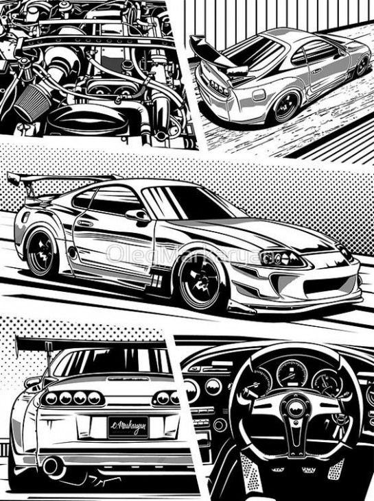 Sportcars Sport Cars Drawing In 2020 Toyota Supra Mk4 Toyota Supra Car Illustration