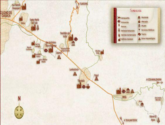 Rutas hacia las zonas arqueológicas mas visitadas de la ciudad.