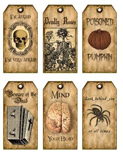 Vintage inspired 18 Halloween spider brain skeleton scrapbooking crafts tag