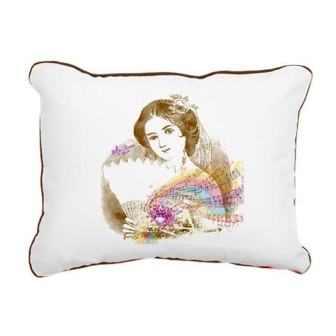 Vintage Fan Lady Rectanguler Canvas Pillow by #MoonDreamsMusic #CanvasPillow #VintageFanLady #VictorianLady #ShabbyChic