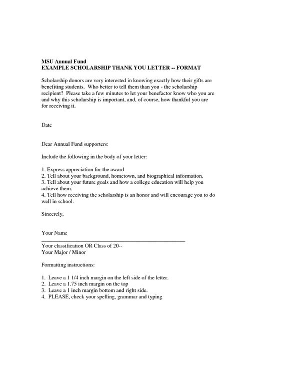 scholarship thank you letter format example | College | Pinterest ...
