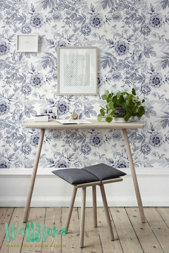 Grey Floral Pattern Wallpaper | Floral Wallpaper | Removable Wallpaper  | Floral Wall Sticker | Grey Wall Decal | Floral Self Adhesive