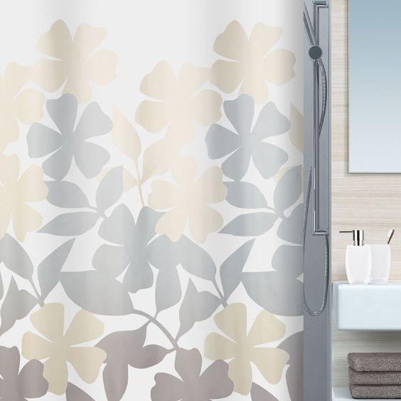 Spirella Fleury Textil Duschvorhang Meterware Gardinen Und