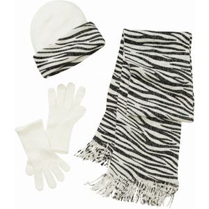 Women's 3-Piece Hat, Gloves and Scarf Animal Print Knit Set: Women Hats, Animal Prints, 3 Piece Hat