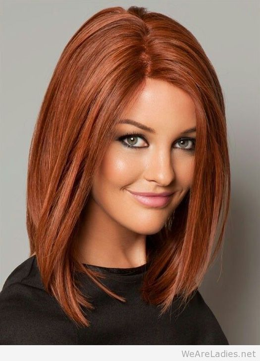 long bob hairstyle red