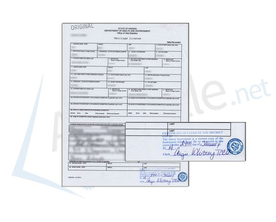 State of Kansas, Marriage License issued by the Clerk of the - sample marriage certificate