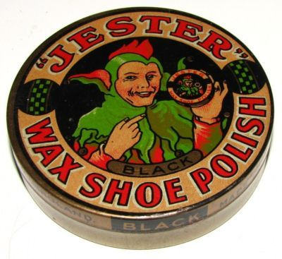 Old English 1930's Jester Wax Shoe Polish Tin Box VGC
