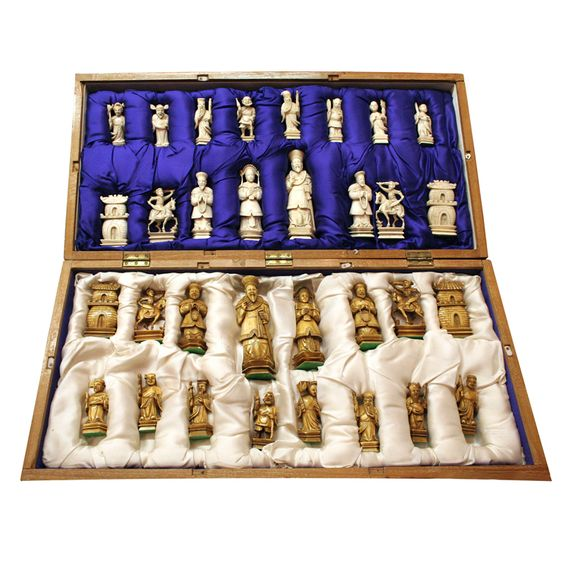Hand carved ivory chess set chess sets the o 39 jays and cases - Multi level chess board ...
