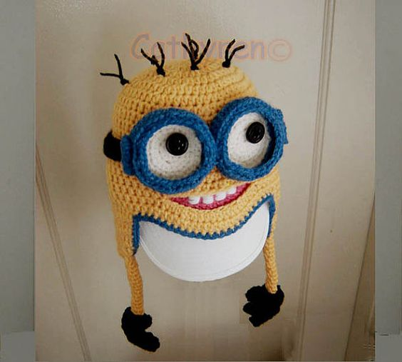 Minion Beanie Knitting Pattern : Despicable Me Minion Earflap Hat Beanie with by Cathyren on Etsy, USD4.50 Cro...