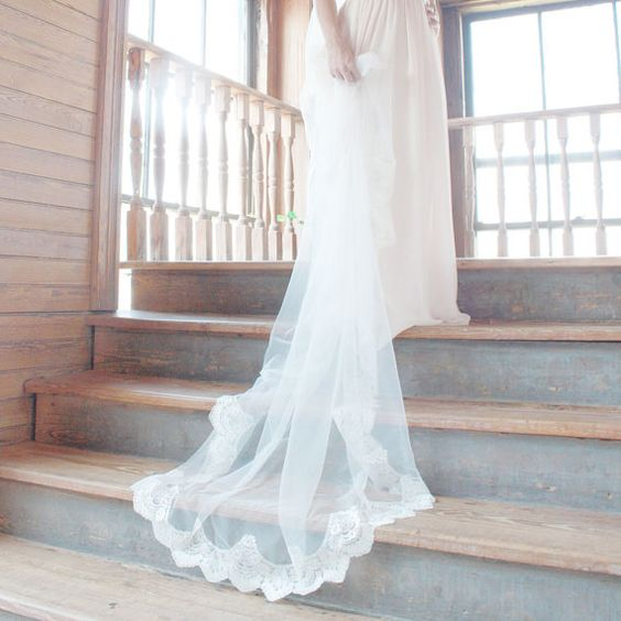 Mantilla Wedding Veil Cathedral length with by TheMantillaCompany