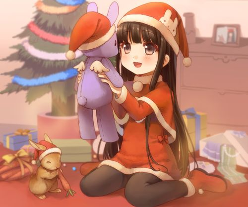 Christmas Anime girl and bunny ^^