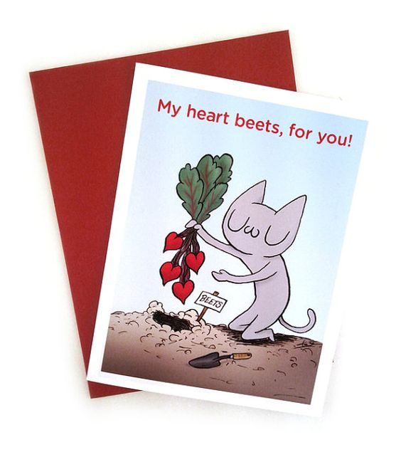 My Heart Beets For You A2 size greeting card by cmykevin on Etsy, $4.00