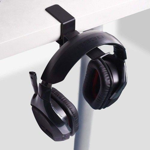 Headphone Headset Holder Universal Metal Headphone Holder Hanger Clip with Adjustable Clamp for Computer Desk 6amLifestyle Headphone Stand Black /…