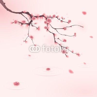 Sticker peinture de style oriental fleur de cerisier au printemps retro revival sticker - Greffe du cerisier au printemps ...