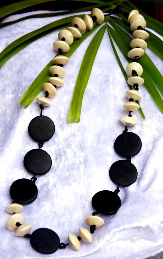 Natural cream white wood saucers with black disk beads tribal jungle collection on black leather necklace OOAK  Free shipping $35.95