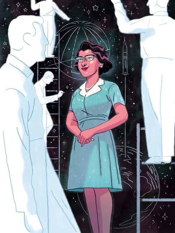 """The Woman the Mercury Astronauts Couldn't Do Without"" by Richie Pope. (Illustrations about physicist, space scientist, and mathematician, Katherine Johnson.)"