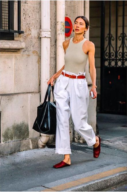 white wide leg pants high waist, simple beige tank top and wide leg pants,