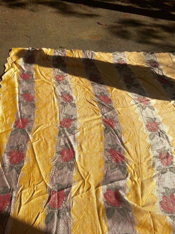 Vintage Italian Bedspread Coverlet Roses Leaves 101x78 | eBay