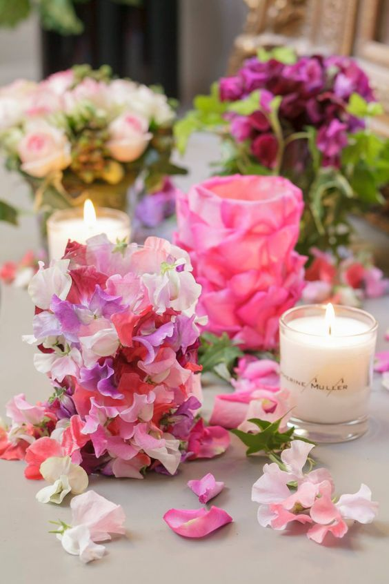 Floral Petal Paved Votive Candles: