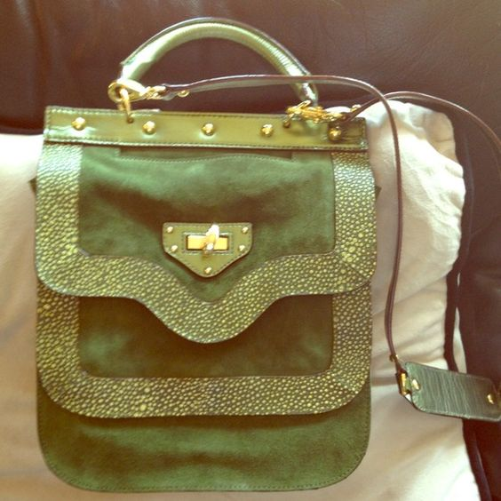 Nanette Lepore handbag Green and gold beautiful leather handbag! Like new condition! Worn once! Lots of pockets and big enough to hold an iPad! Nanette Lepore  Bags