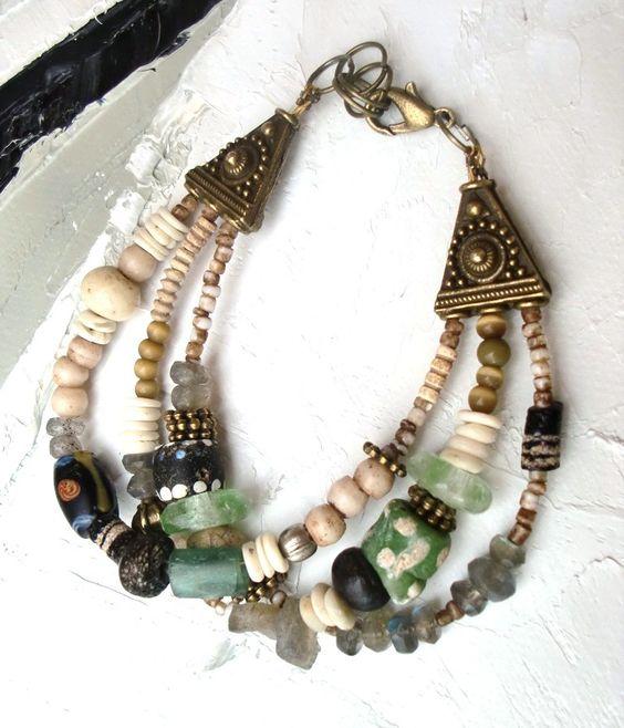 bracelet 3 rangs : Lumière Océane style tribal : Bracelet par les-reves-de-minsy