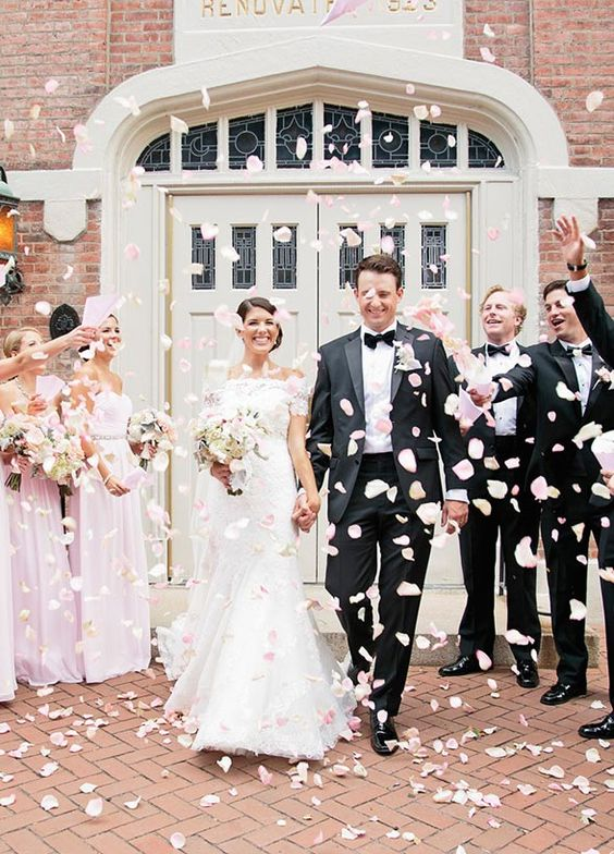 Rose petal toss is such a classic (and photo perfect) exit: