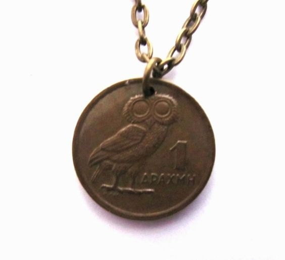 Owl Necklace Greek Coin 1973 Greece 1 Drachma Phoenix Charm Handmade Jewelry by Hendywood - Hendywood $15