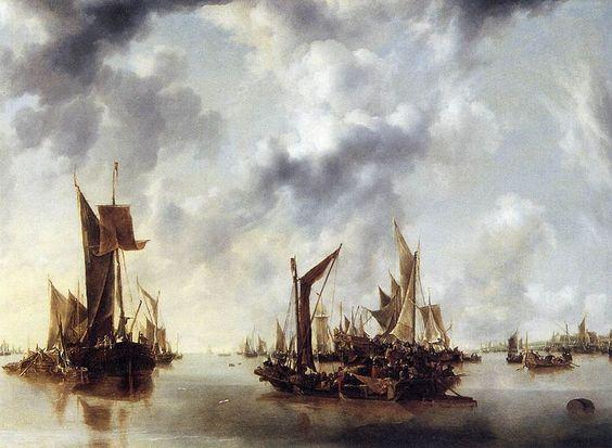 """""""A Calm"""" by Jan van de Cappelle (1654)"""
