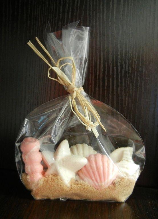 Beach wedding favor - chocolate seashells in brown sugar.