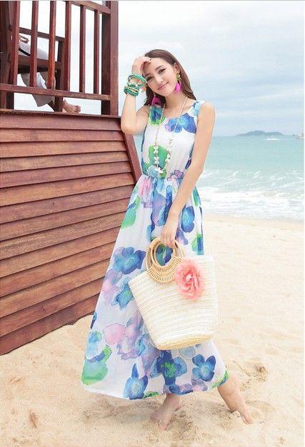 Women&39s Trendy Blue O-Neck Floral Chiffon Ankle-Length Maxi Dress ...