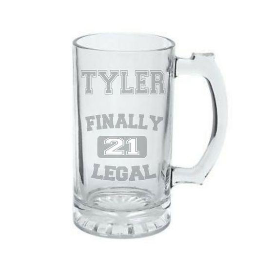 21st Birthday Mug, Deep Etched Birthday Beer Mug
