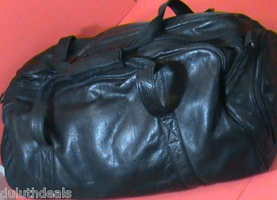 DOMA OUTBACK Leather Duffle, Travel Bag, Carry On, Sports bag, Black