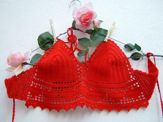 Top rosso all'uncinetto-Top crochet hippie chic di cotone- Festival…