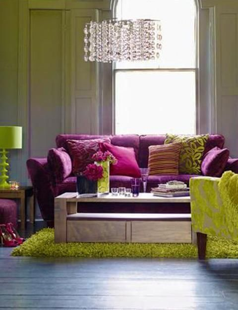 10 Bright Interior Color Schemes Floral Inspirations And Interior Decorating Ideas Living Room Decor Purple Living Room Green Living Room Decor