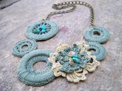 collar tejido al crochet collar hilo,piedras semipreciosas,argollas cadena tejido crochet