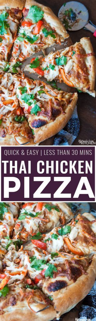 Thai Chicken Pizza - quick and easy recipe that's perfect for busy weeknights…