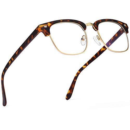 TIJN Blue Light Blocking Glasses Retro Oversized Square Eyewear Light Weight Metal Frame for Women Men