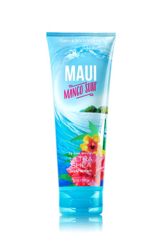 Bath & Body Works Maui Mango Surf Ultra Shea Body Cream | A tropical trio of ruby mango, guava nectar and coral hibiscus | Top Notes: Ruby Mango, Polynesian Tangerine, Guava Nectar, White Pineapple Mid Notes: Mango Mai Tai, Sun-bleached Driftwood, Coral Hibiscus, Hawaiian Lily, Pacific Blue Accord Dry Notes: Island Sandalwood, Skin Musk, Lanai Ylang