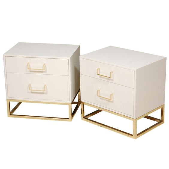 Madison Nightstands with Brass Base by Lawson-Fenning | 1stdibs.com: