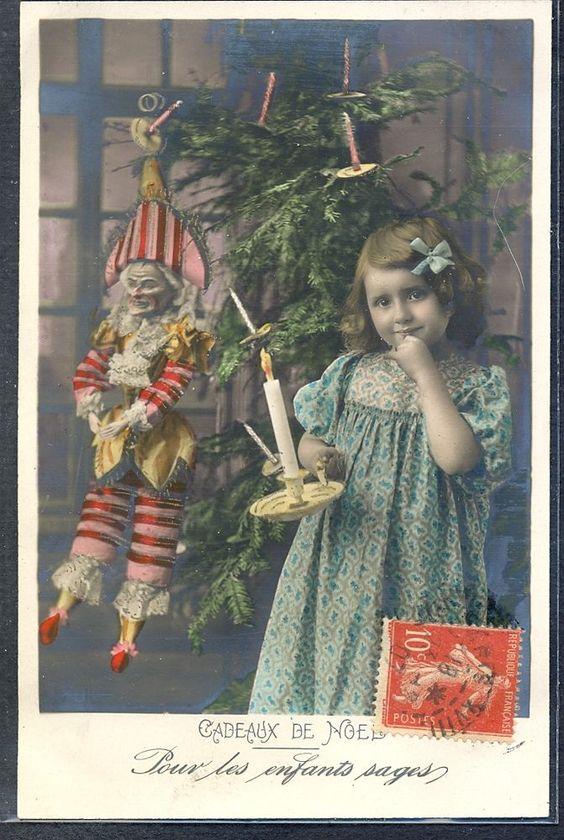 QJ121 EDWARDIAN GIRL PUPPET DOLL Poupée DECORATED TREE Tinted PHOTO pc