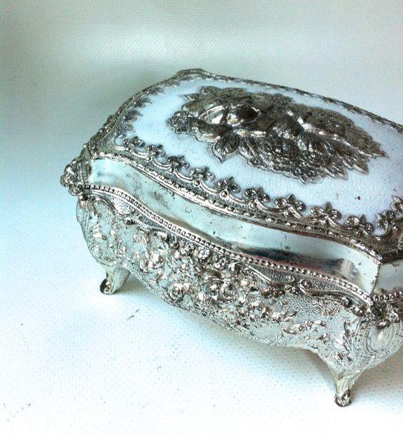 Jewelry Box / Metal Filigree Velvet lined by HillsideHouse on Etsy, $16.00: