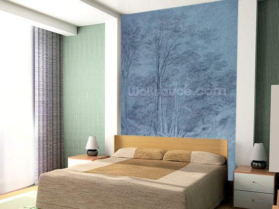 Study of ash and other trees (pencil on paper, heightened with white chalk) wall mural room setting