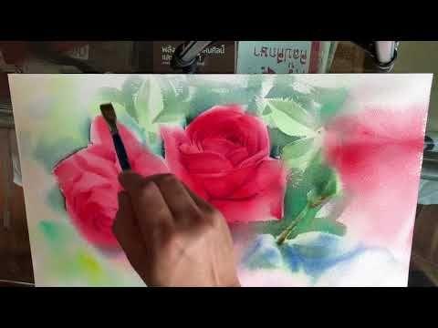 สอนระบายส น ำ ดอกก หลาบแดง 3 Youtube สอนระบายส น ำ ดอกไม ส น ำ ภาพวาดส น ำ