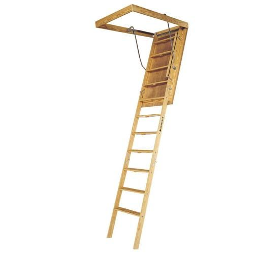 Louisville Big Boy 7 Ft To 8 Ft Rough Opening 60 In X 30 In Folding Wood Attic Ladder With 350 Lbs Capacity Lowes Com In 2020 Attic Ladder Attic Design Attic Renovation