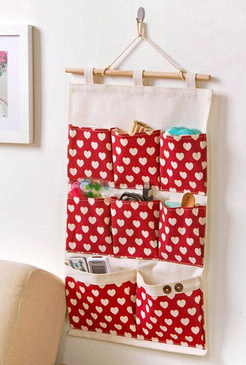 8 pockets heart pattern storage pocket /wall pocket / wall storage bag / household storage/back door pouch